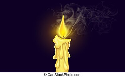 Burning candle fire with white realistic smoke. Vector.