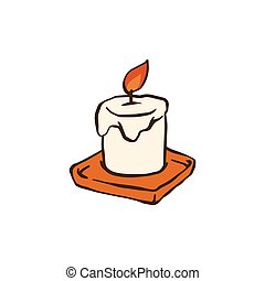 Burning candle from paraffin wax cartoon sketch vector ...
