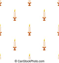 burning candle from paraffin wax. Easter single icon in...