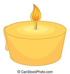 Burning candle icon, cartoon style