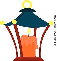 Burning candle icon, cartoon style