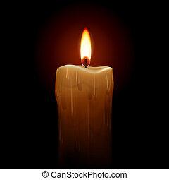 Burning candle. Illustration on black background for design