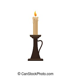 Burning candle in a candlestick, vintage candle holder vector Illustration on a white background