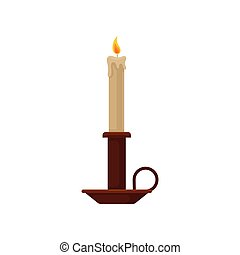 Burning candle in a candlestick, vintage copper candle holder vector Illustration on a white background