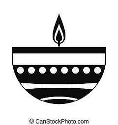 Burning candle in a clay candle holder icon, simple style - ...