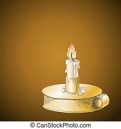 Burning candle in metallic candlestick on brown background