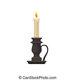 Burning candle in vintage candle holder, candlestick, vector Illustration on a white background