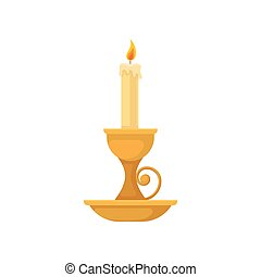 Burning candle in vintage candle holder, small candlestick, vector Illustration on a white background