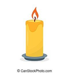 Burning candle, isolated on a white background.