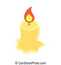 Burning candle isometric 3d icon