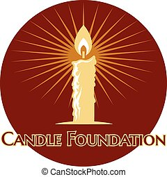 Burning candle logo with rays of light on a round brown icon...