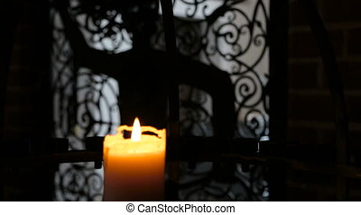 Burning candle in interere ancient castle - Burning candle ...