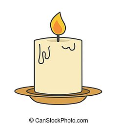 Burning candle on beige plate flat style close-up icon isolated on white. Melting candlelight glowing yellow and orange flame. Vector illustration hand drawn pattern in cartoon style for web.
