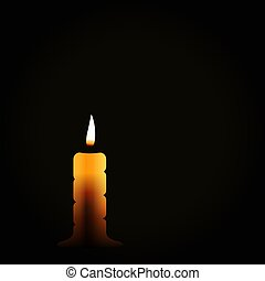 Burning candle on black background, mourning symbol, mourn grief, vector illustration.