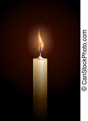 Burning candle on black background.