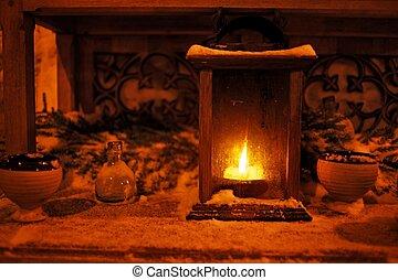 Burning candle outdoors