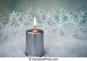 burning candle - silver burning candle winter decoration
