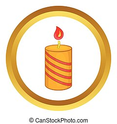 Burning candle vector icon in golden circle, cartoon style...