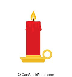 Burning candle with a holder. vector illustration