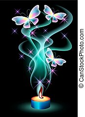 Burning candle with butterflies and stars - Burning candle...
