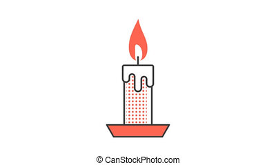 Burning candle with dripping wax. Animated looped icon pictogram with alpha channel.