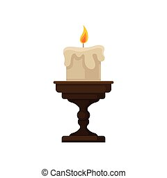 Burning candle with melting wax on a small candlestick, vintage candle holder vector Illustration