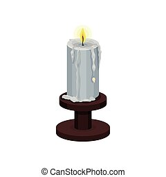 Burning candle with melting wax on small wooden candlestick. Bright yellow flame. Item for divination. Flat vector icon