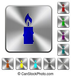 Burning candle with melting wax rounded square steel buttons