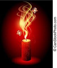 Gold magic burning candle  vector stylized illustration