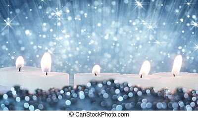 burning candles and glitter particles seamless loop