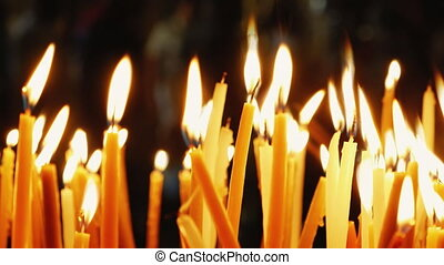 Burning candles. Celebration event or religious memorial...