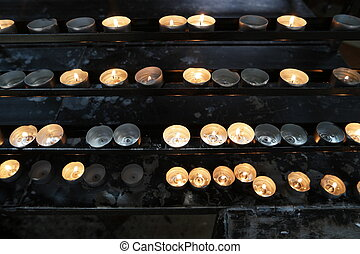 Burning candles in church. Concept of religion