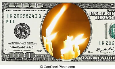 Burning candles in frame of 100 dollar bill. Money gain or...