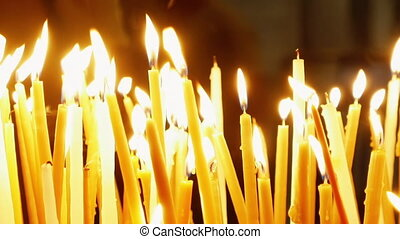 Burning candles in Holy Sepulcher Church - Burning candles...