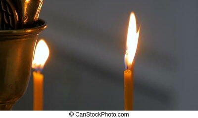 Burning candles in russian orthodox church