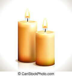 Burning Candles isolated on white. Vector Illustration. ...