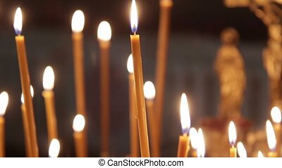 Burning Candles On A Golden Cndlestick. There Is The Sound -...