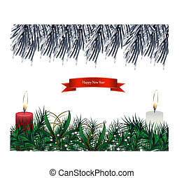 Burning candles on the white background. Vector illustration