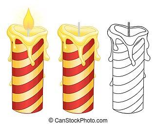 Burning candles on white background