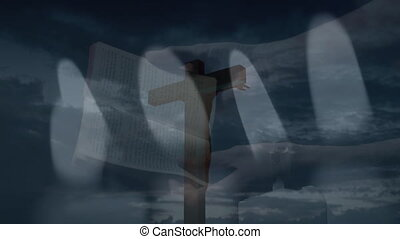 Animation of person praying and holding Bible and Christian cross over clouds. Religion faith tradition nature concept digitally generated image.