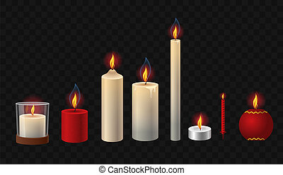 Burning candles - realistic vector isolated clip art set of objects