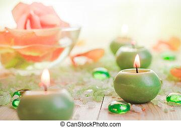 Burning candles salt spa