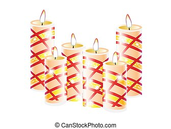 Burning candles set. Decorative round cylindrical candle sticks with burning flames on white background. Vector isolated decoration element design.