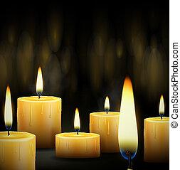 Burning candles - Set realistic burning candle. Eps 10