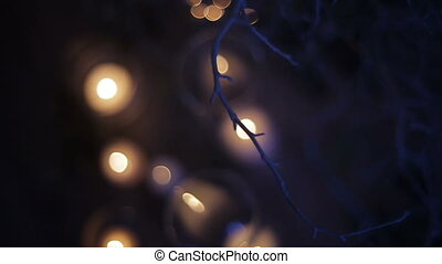 Burning candles through white branches of New Year tree. Christmas holidays