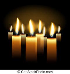 Burning candles holiday background, vector Eps10...