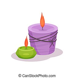Burning candles vector Illustration on a white background