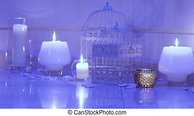 Burning candles - Group of burning candles with decorative...
