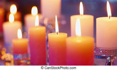 Burning candles, wedding decorations
