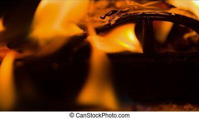 Burning car at night